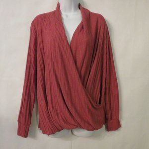 Maeve Anthropologie wrap sweater Large Coral pink